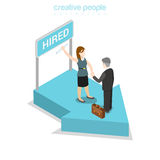 Flat isometric business people hiring pedestal. Flat isometric happy businesspeople handshake after hiring, blue arrow pedestal signboard vector illustration Royalty Free Stock Photo