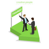 Flat isometric business people training pedestal. Flat isometric happy businesspeople handshake after training, green arrow pedestal signboard vector Royalty Free Stock Images