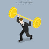 Flat isometric businessman barbell coin vector. Flat isometric strong businessman trying to rise barbell made of huge coins vector illustration. 3d isometry Stock Photos