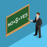 Flat isometric buying votes blackboard chalk man v. Flat isometric blackboard chalk lettering NO + $ = YES and businessman or politician with pointer in hand Royalty Free Stock Image
