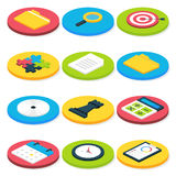 Flat Isometric Circle Business Icons Set Royalty Free Stock Photography