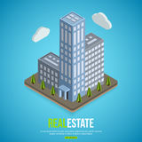 Flat isometric city real estate background with. Place for text. Vector illustration stock illustration