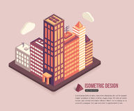 Flat isometric city real estate background Royalty Free Stock Images