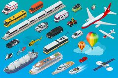 Flat isometric city transport icon set. Taxi, Ambulance, trolleybus, Police, safari travel, Bicycle, Mini, Subway train, Fire-truck, cargo-truck bus Electric Royalty Free Stock Image