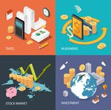 Flat isometric concept: finance, stock market, investing, taxes, m-banking Stock Image