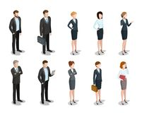 Flat isometric 3d business people characters vecto. Flat isometric business people characters  icon set collection. 3d isometry male and female persons in strict Stock Photos
