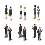 Flat isometric 3d business people characters vecto. Flat isometric business people characters  icon set collection. 3d isometry male and female persons in strict Stock Image