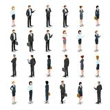 Flat isometric 3d business people characters vecto. Flat isometric business people characters  icon set collection. 3d isometry male and female persons in strict Stock Images