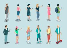Flat isometric 3d casual people characters. Flat isometric casual fashion stylish young people hipster characters  icon set. 3d isometry concept. Young male and Royalty Free Stock Image