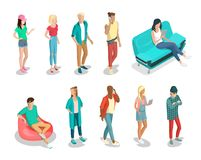 Flat isometric 3d casual people characters. Flat isometric casual fashion stylish young people hipster characters  icon set. 3d isometry concept. Young male and Stock Images