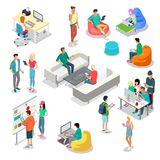 Flat isometric 3d casual people characters. Flat isometric casual fashion stylish young people hipster student characters  icon set. 3d isometry coworking Royalty Free Stock Photo