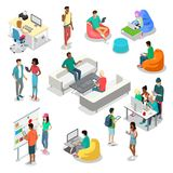 Flat isometric 3d casual people characters. Flat isometric casual fashion stylish young people hipster student characters  icon set. 3d isometry coworking Royalty Free Stock Photos