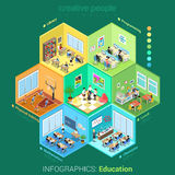 Flat isometric 3d education school college. Flat isometric school or college classroom interior cells vector illustration. 3d isometry education concept. Library Royalty Free Stock Photo