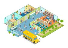 Flat isometric 3d education school college interio. Flat isometric school or college classroom interior illustration. 3d isometry education concept. Library vector illustration