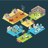 Flat isometric 3d education school college interio. Flat isometric school or college classroom interior  illustration. 3d isometry education concept. Library Royalty Free Stock Images