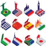 Flat isometric 3d flag icons, famous world landmarks on white. World famous landmarks as a square icon or button flag designs in colour isolated on a white Stock Images