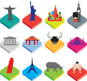 Flat isometric 3d  icons of famous world landmarks on white. World famous landmarks as icon or button designs in colour on white background Royalty Free Stock Image