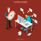 Flat isometric Deadline business man hurry boss. Flat isometric businessman works in a hurry, leader with big clock vector illustration. 3d isometry rush for Royalty Free Stock Image