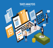 Flat isometric design of taxes concept. Financial calculations, counting profit, income, taxes, statistics, data analytics concept. vector illustration Royalty Free Stock Images