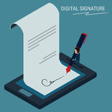 Flat Isometric. Digital signature , businessman sign on smartphone. Cartoon Vector Illustration Royalty Free Stock Photography