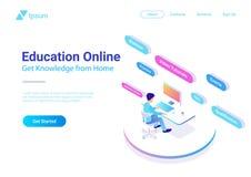 Flat Isometric Education Online vector. Man workin vector illustration