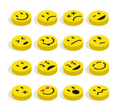Flat isometric Emoticons set illustration Stock Photography