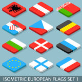 Flat Isometric European Flags Set 1 Stock Photo