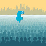 Flat isometric Facebook submarine periscope. Flat isometric Facebook look like submarine periscope in ocean of human silhouettes, cityscape background vector vector illustration