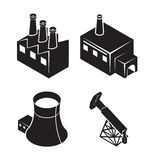 Flat isometric factory icons Stock Image