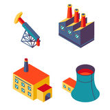 Flat isometric factory icons Royalty Free Stock Photos