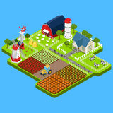 Flat isometric farm product, building infographic. Flat isometric countryside buildings infographic template vector illustration. 3d isometry Natural farm Stock Photography