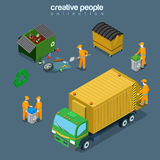 Flat isometric garbage man junk car vector City Se. Flat isometric garbage man gathering rubbish into recycling containers and junk car vector illustration. City Stock Photos