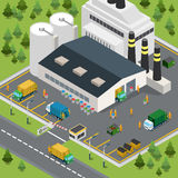 Flat isometric garbage transport factory vector 3d Royalty Free Stock Photo