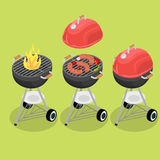 Flat isometric grill barbecue equipment vector. Flat isometric grill barbecue equipment vector illustration set. 3d isometry burning fire, sausage and stock photography
