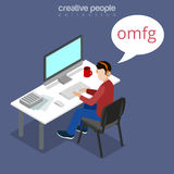Flat isometric guy computer bubble OMFG vector. 3d Royalty Free Stock Photography
