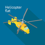 Flat isometric helicopter vector illustration Royalty Free Stock Images