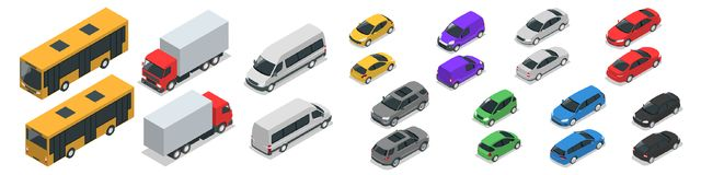 Flat isometric high quality city transport car icon set. Car, van, cargo truck  Royalty Free Stock Photography