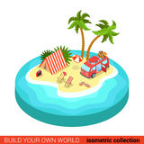 Flat isometric hippie van tent beach holiday tropic camping Stock Image