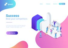 Flat isometric huge Like sign Social network vecto. Flat isometric male people crowd climb on huge internet Like sign net vector illustration. Social network 3d vector illustration