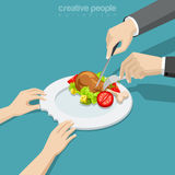 Flat isometric hungry woman hold plate, full man. Flat isometric female hands holding ceramic bitten plate, male cutting chicken with knife and fork vector Stock Photos