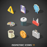 Flat Isometric Icons Set 11. Flat Trendy Isometric Colorful Icons on dark background stock illustration