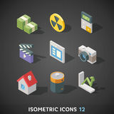 Flat Isometric Icons Set 12. Flat Trendy Isometric Colorful Icons on dark background Stock Images