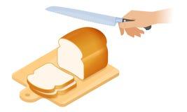 Flat isometric illustration of cutting board, loaf of bread, knife. Flat isometric illustration of cutting board, a loaf of white bread, kitchen knife. Sliced stock illustration