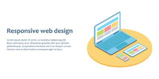 Flat isometric illustration of devices with different view one web page. For demonstration responsive web design Stock Images
