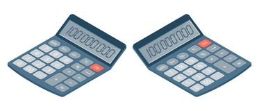 Flat isometric illustration of electronic calculator. Business,. Flat isometric illustration of electronic calculator. Business and education left and right view Stock Images