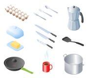 Flat isometric illustration of kitchen utensils, kitchenware, co Royalty Free Stock Photography