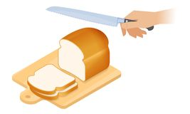 Free Flat Isometric Illustration Of Cutting Board, Loaf Of Bread, Kni Stock Image - 120614191
