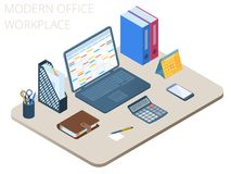 Flat isometric illustration of workplace. Vector work desktop 3d. Flat isometric illustration of workplace. Office workspace with modern technologies accessories Stock Images