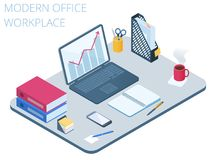 Flat isometric illustration of workplace. Vector work desk 3d co. Flat isometric illustration of workplace. Office workspace with modern technologies equipment Stock Photography