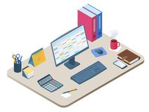 Flat isometric illustration of workplace. Vector work desk 3d co. Flat isometric illustration of office workplace. Workspace with modern electronic equipment Royalty Free Stock Photos